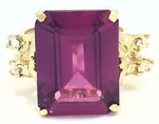 AMETHYST 9.56 Cts & WHITE SAPPHIRE RING 14k YELLOW GOLD  ***Free Shipping***