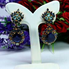 NATURAL 10 X 13mm. PEAR BLUE SAPPHIRE & ZIRCON CAMBODIA DROP EARRINGS 925 SILVER