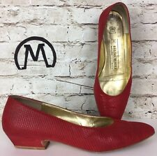 Bruno Magli Women's Shoes Heels Pumps 7.5 Red Leather Italy Classic kitten