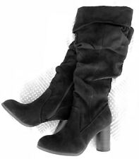 Size 6 Black Long Block Heel Boot Women's Vintage Boots Suede Leather Knee-High