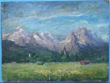 Impressionismus Ölgemälde Frühjahr Alpen Wettersteingebirge Zugspitze M. Hamm~25
