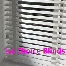 Made to Measure 50mm DELUXE BRIGHT PURE WHITE Wooden Venetian Blinds with Tapes