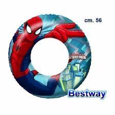 Salvagente Spiderman 56cm Bambini Mare Giochi Spiaggia Piscina Nuoto dfh