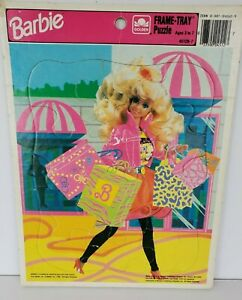 Vintage 1990 Barbie shopping spree Frame-Tray Puzzle, Golden # 4512B-7