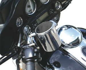RIVCO CHROME RIDER DRINK CUP HOLDER FRONT HARLEY TOURING SOFTAIL INDIAN CHIEF
