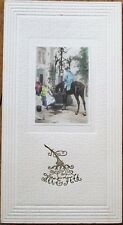Menu: French 1902, Man & Horse at Well - Foie Gras En Croute, Oysters de Burnham