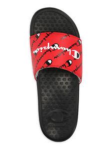Champion Men's Super Slide Repeat Script CB Sandal, Black&Red, Size 12
