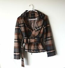Roem Check Pattern Fleeces Ladies Coat Brown