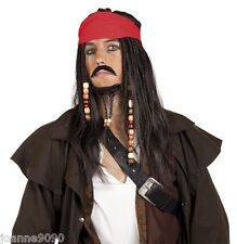 Caribbean Pirate Jack Sparrow Black Dreadlocks Fancy Dress Costume Wig & Bandana