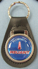 Vintage Blue Plymouth RELIANT Black Leather Keyring 1981 1982 1983 1984 1985