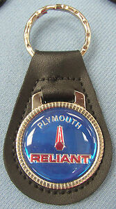 Vintage Blue Plymouth RELIANT #33A2 Black Leather Key Ring Key Fob