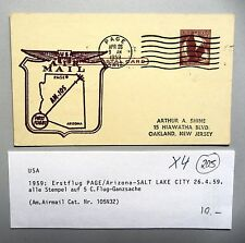 1959 Erstflug Flug Ganzsache USA PAGE SALT LAKE CITY First Flight Cover