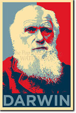 CHARLES DARWIN PHOTO PRINT 2 POSTER GIFT (OBAMA HOPE INSPIRED) EVOLUTION BIOLOGY