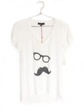 New Weavers Womens Mustache Glasses Graphic Basic V Neck White T Shirt M $26