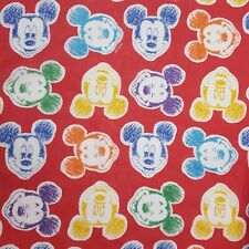 Disney Mickey Mouse Sheet Full Fitted Vintage 90s Emoji Faces Red Rainbow Sketch