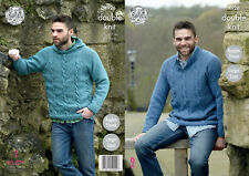 King Cole 4926 Knitting Pattern Mens Raglan Sweater and Hoodie in Majestic DK