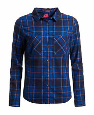 New Womens Superdry Unique Sample Lumberjack Twill Shirt Size Small Lund Navy