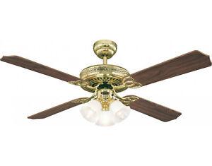 "132 cm / 52"" Westinghouse ceiling fan light MONARCH TRIO in Polished brass"