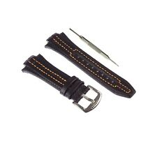 Black Genuine Leather Watch Band 15x27mm Comp. Seiko Sportura Series +Tool