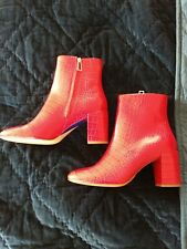 PAUL SMITH Cherry Red Ankle Boots NEW Size 40 Croc Leather Sinah
