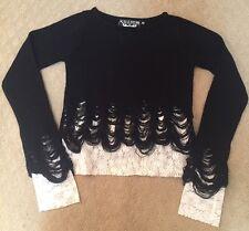 Women's Killstar Lestat Crop Knit Sweater Black White Lace Goth Shredded XS NWOT