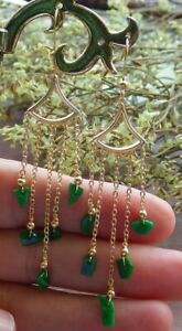 14K Gold Filled Natural A red Jade jadeite Bead Earrings Bead Dangle 耳环 523037