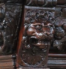 19C English Gothic Fantasy Carved Oak Bookcase Knight/Dragon/Lion/Cherub s/Mask