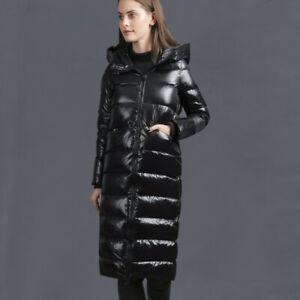 Winter Daunen Jacke langer Mantel Daunenjacke Daunenmantel Kapuze Schwarz BC922
