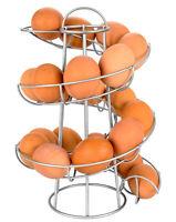 Egg Skelter Modern Spiraling Dispenser Rack Basket Storage Space Eggs Holder