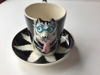 Vintage Hatton Demitasse Cup and Saucer Cream and black with 3D Cat Face