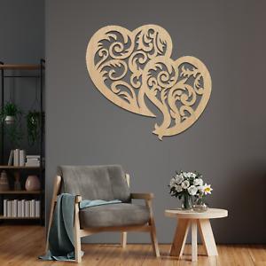 0107 Lovely Hearts Modern Contemporary Hanging Wooden Wall Art Mdf Oak Ash