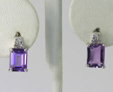 Sterling Silver Genuine Amethyst Lab Created White Sapphire Drop Earrings