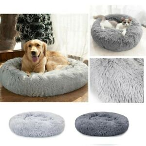 Round Plush Cat Dog Bed Calming Donut Cuddler Pet Bed Fluffy Puppy Cushion Mat