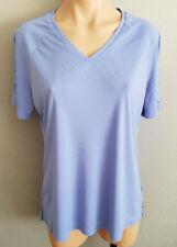 BNWT Womens Sz L NNT Brand Silky Feel Blue V Neck Short Sleeve Matt Jersey Shirt