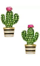 KATE SPADE 14K Gold Plated Scenic Route Green Pavé Cactus Stud Earrings New