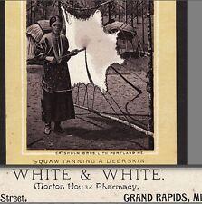 Grand Rapids White Morton House Pharmacy Indian Squaw Deer Skin Photo Trade Card