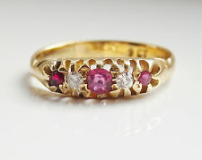 Stunning Antique Victorian 9ct Gold Ruby & Diamond Ring c1900; UK Ring Size 'L'