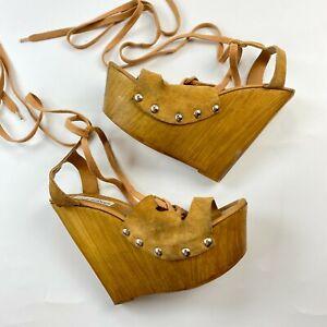 Steve Madden Balbina Lace Up Wedge Sandals Size 38 US 8 Wooden Heel Platform