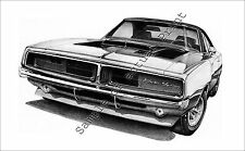 """Beautiful 1969 Dodge Charger RT 11"""" x 17"""" drawing picture print  69"""