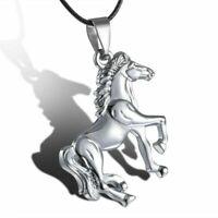 Edelstahl Kühler silber/Gold Pferd Anhänger Leder Schnur Halskette Kette Schmuck