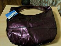 Simply Vera Wang Patent Vegan Faux Leather Handbag LARGE Cranberry - New $69