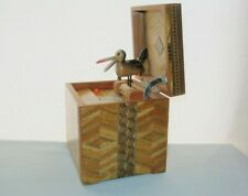 INCREDIBLE Parquetry WOOD CIGARETTE BOX Bird Dispenser with LIGHTER Plays Music