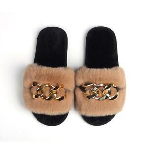 Furry Slides Faux Rabbit Fur Ladies Bedroom Slippers Fluffy Slippers Flat Heel