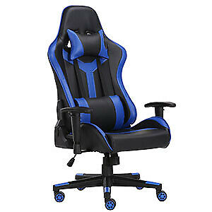 PC Gaming Chair Swivel High Back Ergonomic Racing Leather Executive Office Blue