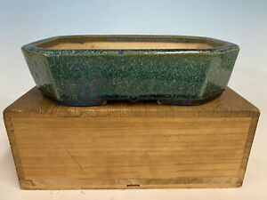 "Beautiful Blue Green Glazed Tokoname Bonsai Tree Pot By Koyo 9 3/8"""