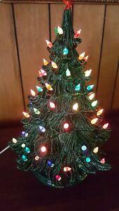 "VINTAGE CERAMIC LIGHTED  CHRISTMAS TREE 20"" AND STAND VERY NICE"