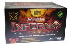 XBALL INFERNO 2000 Paintballs - Ruby / Magma Shell - BRIGHT ORANGE FILL