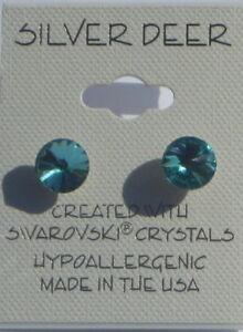 Turquoise Rivoli Earrings Pierced Crystal 8mm USA Made with Swarovski K0294