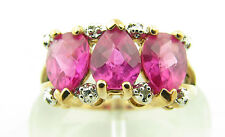 Gorgeous Pink Sapphire Gemstone Diamond Accented Sterling Vermeil Ring Sz 10