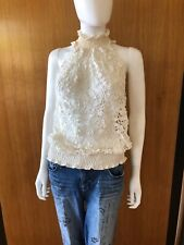 Lim'S Vintage Hand Crochet Floral Pattern Sleeveless Top, Color White, One Size